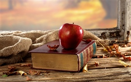 Preview wallpaper Old book, red apple, desk, window, dry leaves