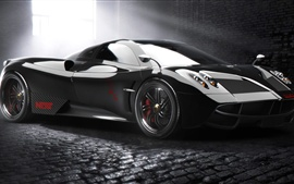 Pagani Huayra supercar, black Wallpapers Pictures Photos Images