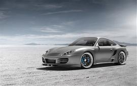 Porsche argentée vue avant de la voiture