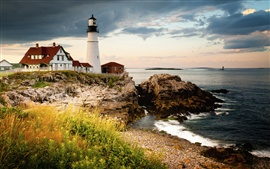 Portland Head Light, Cape Elizabeth, farol, golfo de Maine, costa