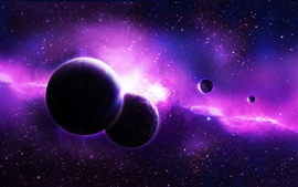 Purple planets, space, stars