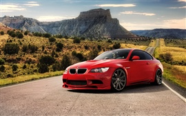 Preview wallpaper Red BMW M3 car at the road
