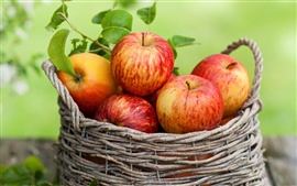 Preview wallpaper Red apples, fruit, basket