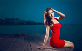 Preview wallpaper Red dress asian girl sitting at pier night