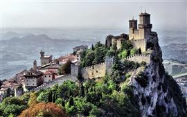 San Marino, país, paisagem da cidade, penhasco, castelo