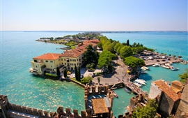 Preview wallpaper Sirmione, Lombardy, Italy, Lake Garda, island, house, trees, panorama