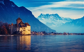 Preview wallpaper Switzerland, Lake Geneva, house, mountains, water, blue sky