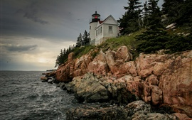 Preview wallpaper United States, Bass Harbor Lighthouse, rocks, sky, coast, sea