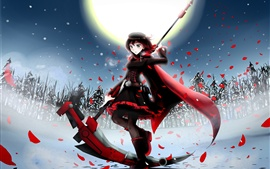 Preview wallpaper Anime girl at winter night, moon, fields