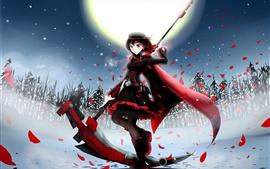 Anime menina na noite do inverno, a lua, os campos