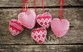 アートニット、赤、白の愛の心