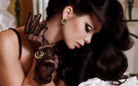 Preview wallpaper Beautiful black hair girl, pendant, earrings, jewelry