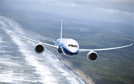 Preview wallpaper Boeing 737 airplane, flying on the sea