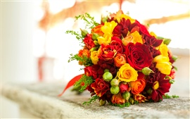 Bouquet flowers, red yellow rose