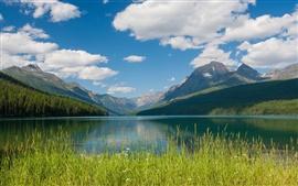 Bowman Lake, Glacier National Park, Montana, montanhas, nuvens