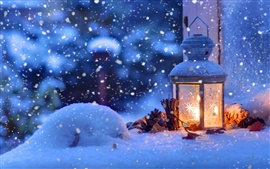 Preview wallpaper Christmas snow winter, light, snowflakes