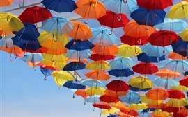 Preview wallpaper Colorful umbrellas in the sky