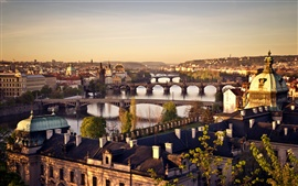 Preview wallpaper Czech Republic, Prague, city, bridge, river Vltava, sunrise, houses