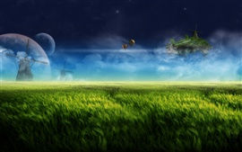 Preview wallpaper Dream landscape, digital design, farm, windmill, green
