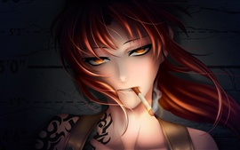 Preview wallpaper Fantasy red hair girl smoking