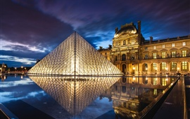 France, Paris, Louvre Museum, architecture, pyramid, night, water, lights