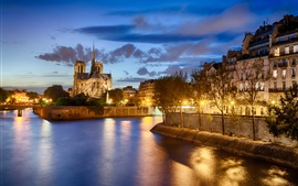 France, Paris, Notre Dame de Paris, river, city, night, lights