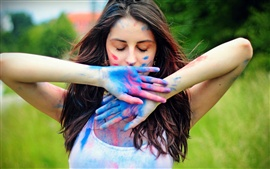 Preview wallpaper Girl colorful paint on hands