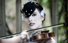 Preview wallpaper Girl makeup, yellow eyes, music, violin