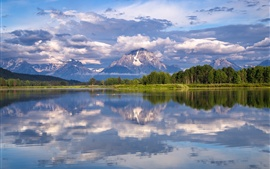 Preview wallpaper Grand Teton National Park, Mount Moran, Snake River, trees, clouds
