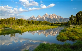 Grand Teton National Park, Wyoming, mountains, lake, reflection