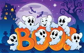 Preview wallpaper Halloween, funny ghosts, creepy house, full moon, vector graphics