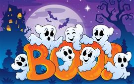 Хэллоуин, забавные привидения, жуткий дом, полная луна, векторная графика