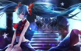 Preview wallpaper Hatsune Miku, anime girl, blue hair