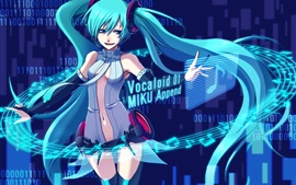 Hatsune Miku, music, blue hair anime girl, Miku Append