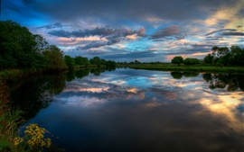 Ireland nature landscape, river, evening sunset, clouds