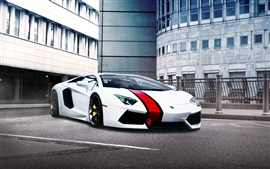 Preview wallpaper Lamborghini Aventador Lp700-4 supercar, red stripe
