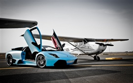 Lamborghini blue supercar, airport, airplane