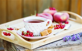 Preview wallpaper Morning tea, red berries