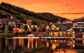 Mountain slope, houses, lake, pond, evening, sunset