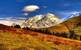 Preview wallpaper Nature autumn landscape, sky, clouds, mountains, yellow