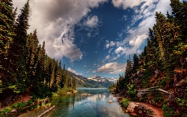 Nature landscape, river, trees, mountains, clouds
