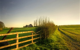 Preview wallpaper Nature scenery, green, meadow, grass, fence
