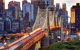 New York City, USA, Manhattan, Queensboro Bridge, buildings, lights