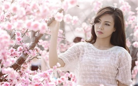 Preview wallpaper Pink cherry flowers, asian girl white clothes