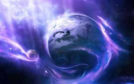 Планета, космос, звезды, ветер, синий