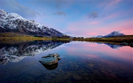 Preview wallpaper Queenstown, New Zealand, Lake Wakatipu, mountains, rocks, water reflection
