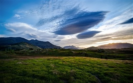 Queenstown, New Zealand, fields, valley, blue sky, dusk