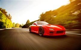 Preview wallpaper Red Mazda RX-7 FD supercar run in high speed