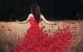 Red rose petals dress with girl