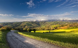 Road, farm, countryside, summer, blue sky